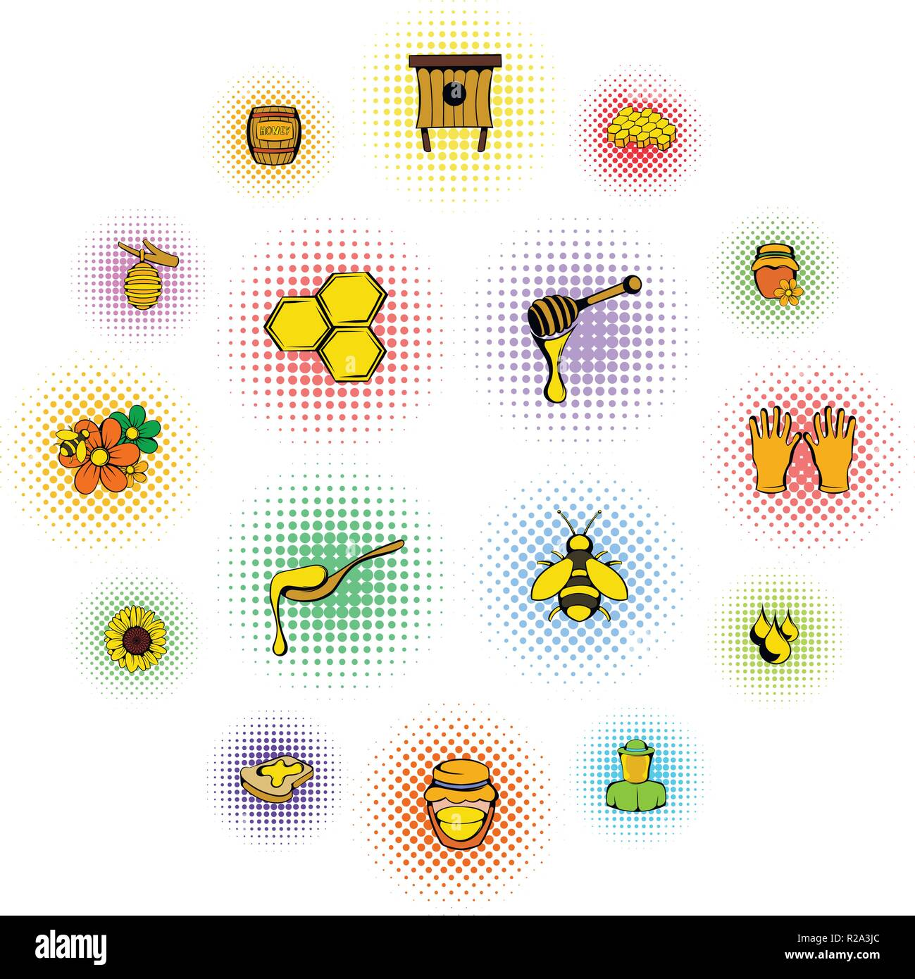 Beekeeping icons set in comics style on a white background - Stock Vector