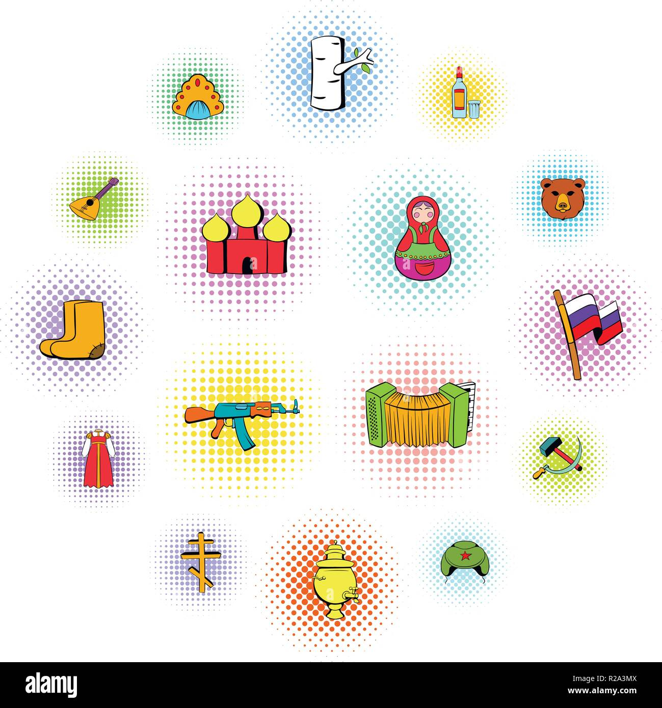 Russia set icons in comics style on a white background   - Stock Vector