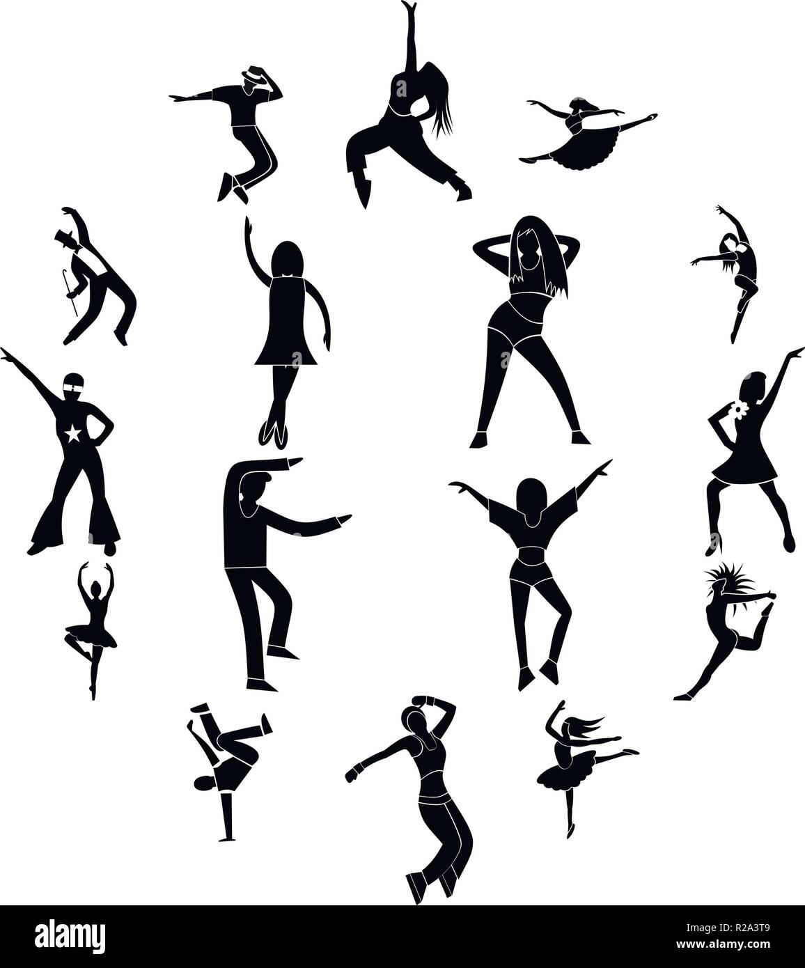 Dances simple icons set isolatedon white background - Stock Vector