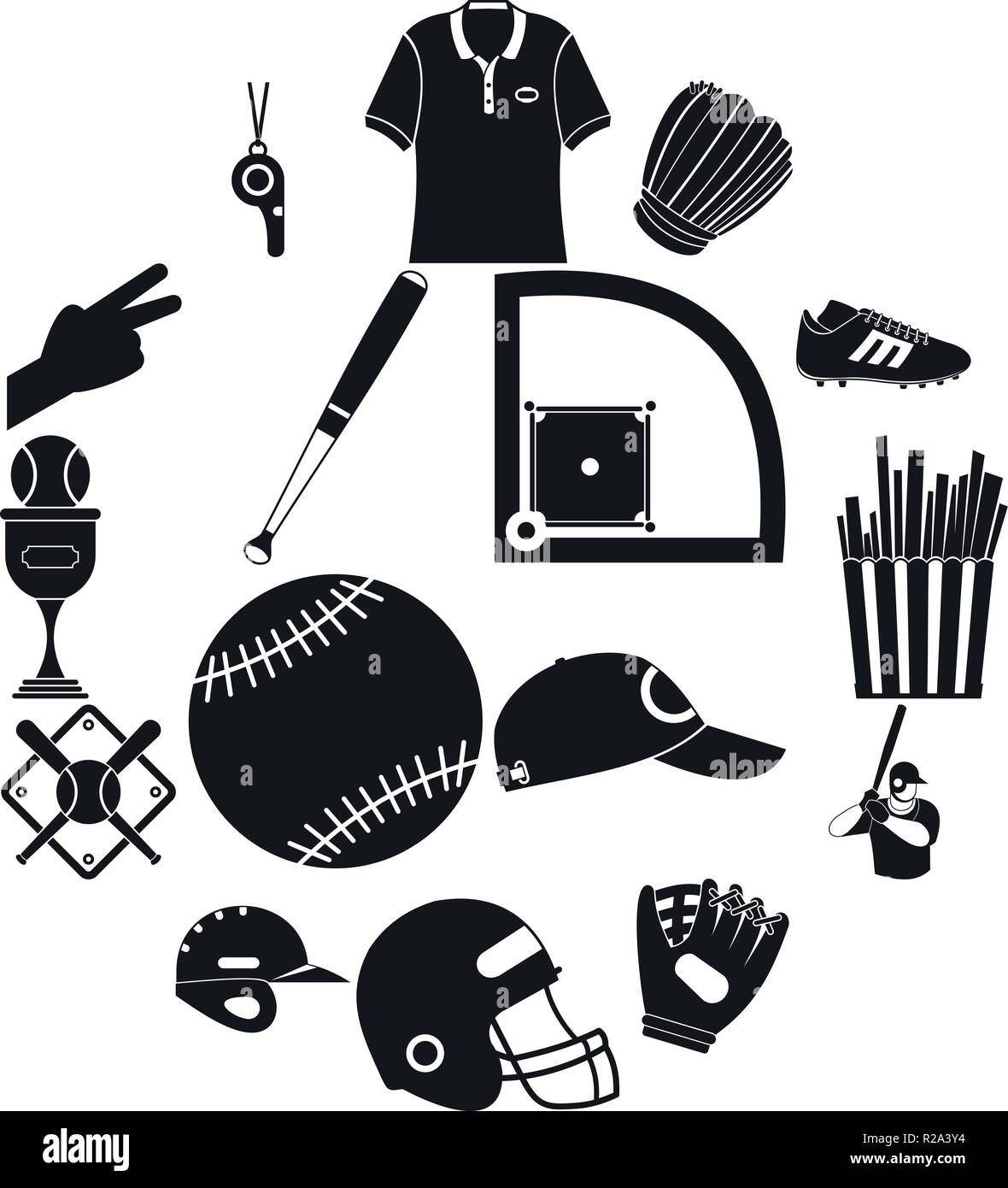 American football black simple icons for web and mobile devices - Stock Vector
