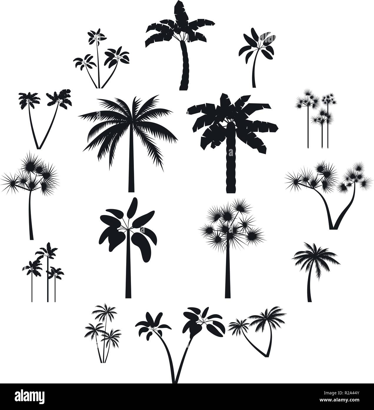 Palm tree icons set in simple style for any design Stock Vector