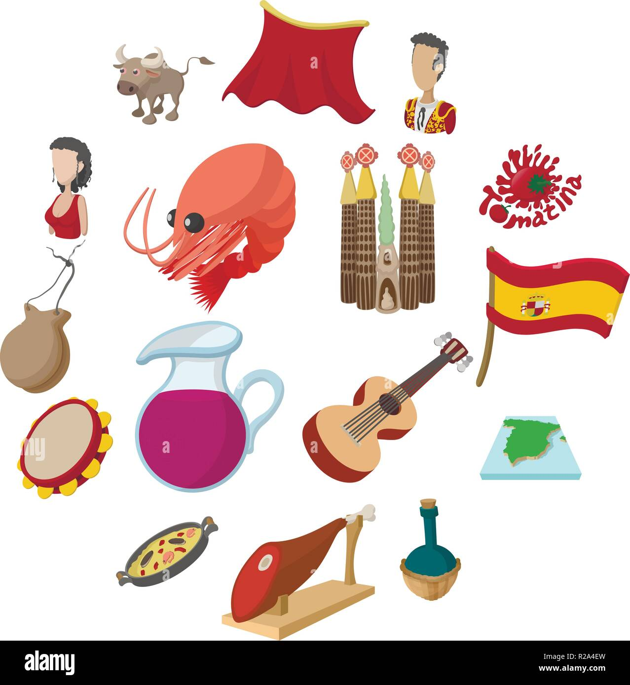 Spain icons in cartoon style for web and mobile devices - Stock Vector