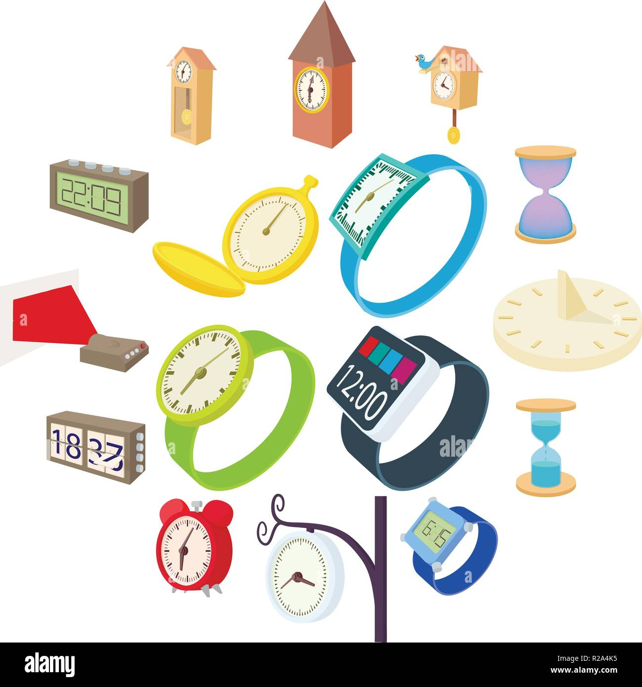 9dd71e4184b Clock and watch icons set in cartoon style on a white background ...