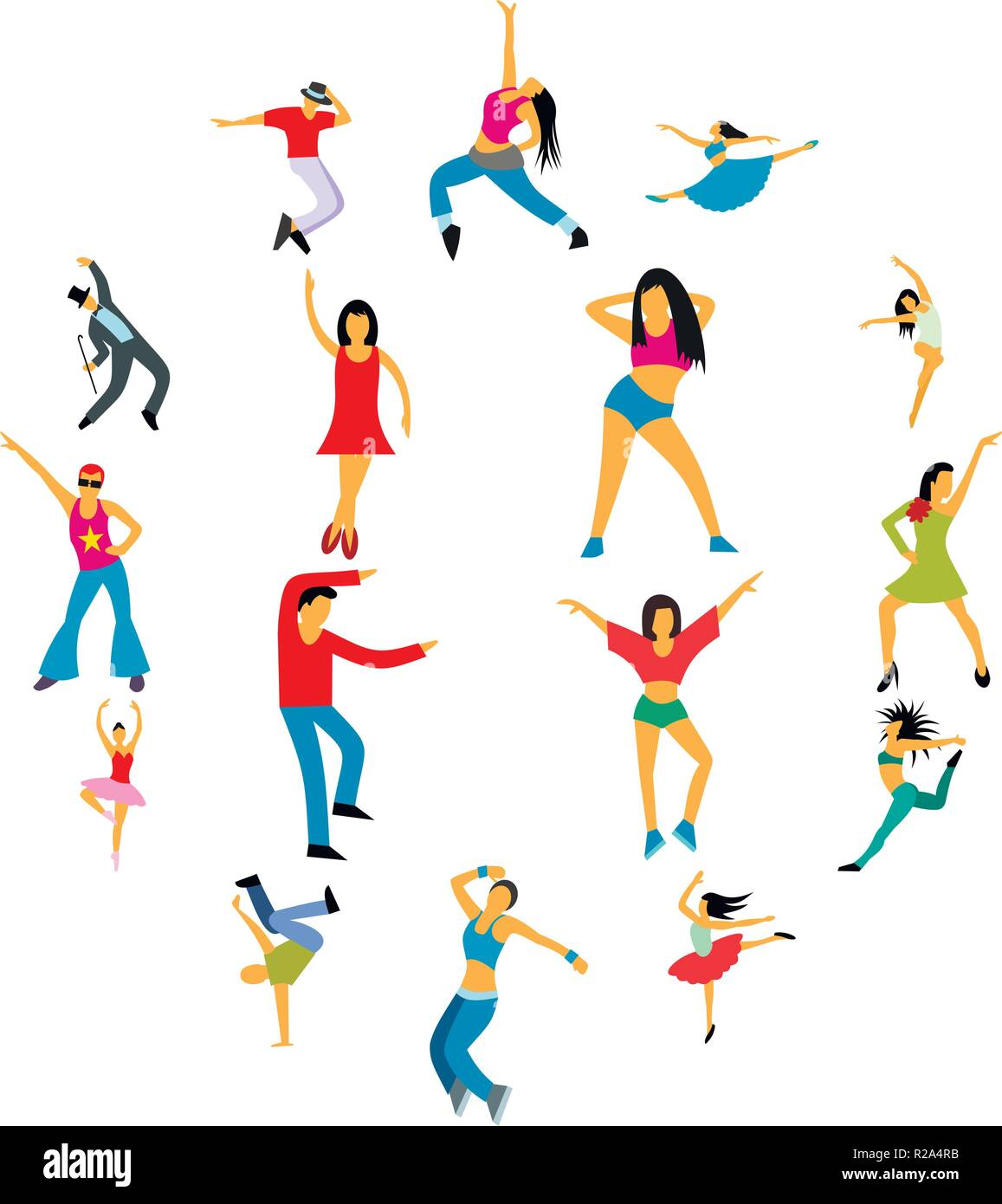 Dances flat icons set for web and mobile devices - Stock Vector
