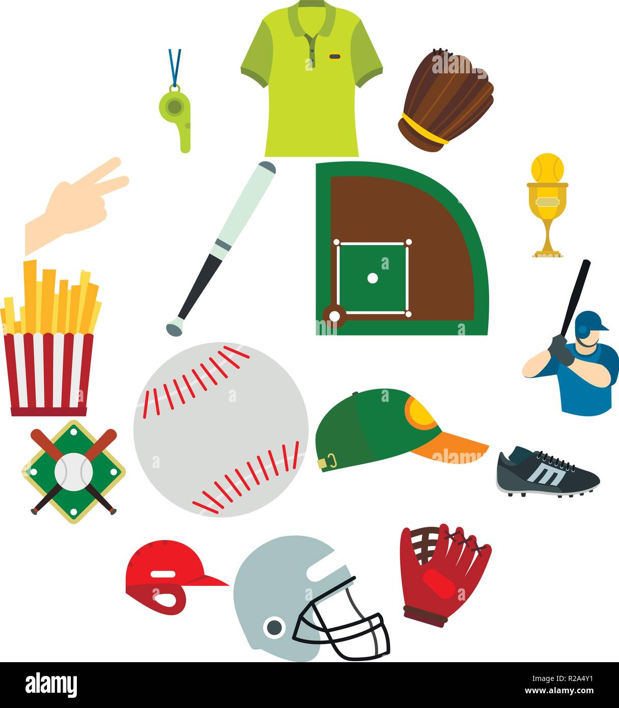 American football flat icons for web and mobile devices - Stock Vector