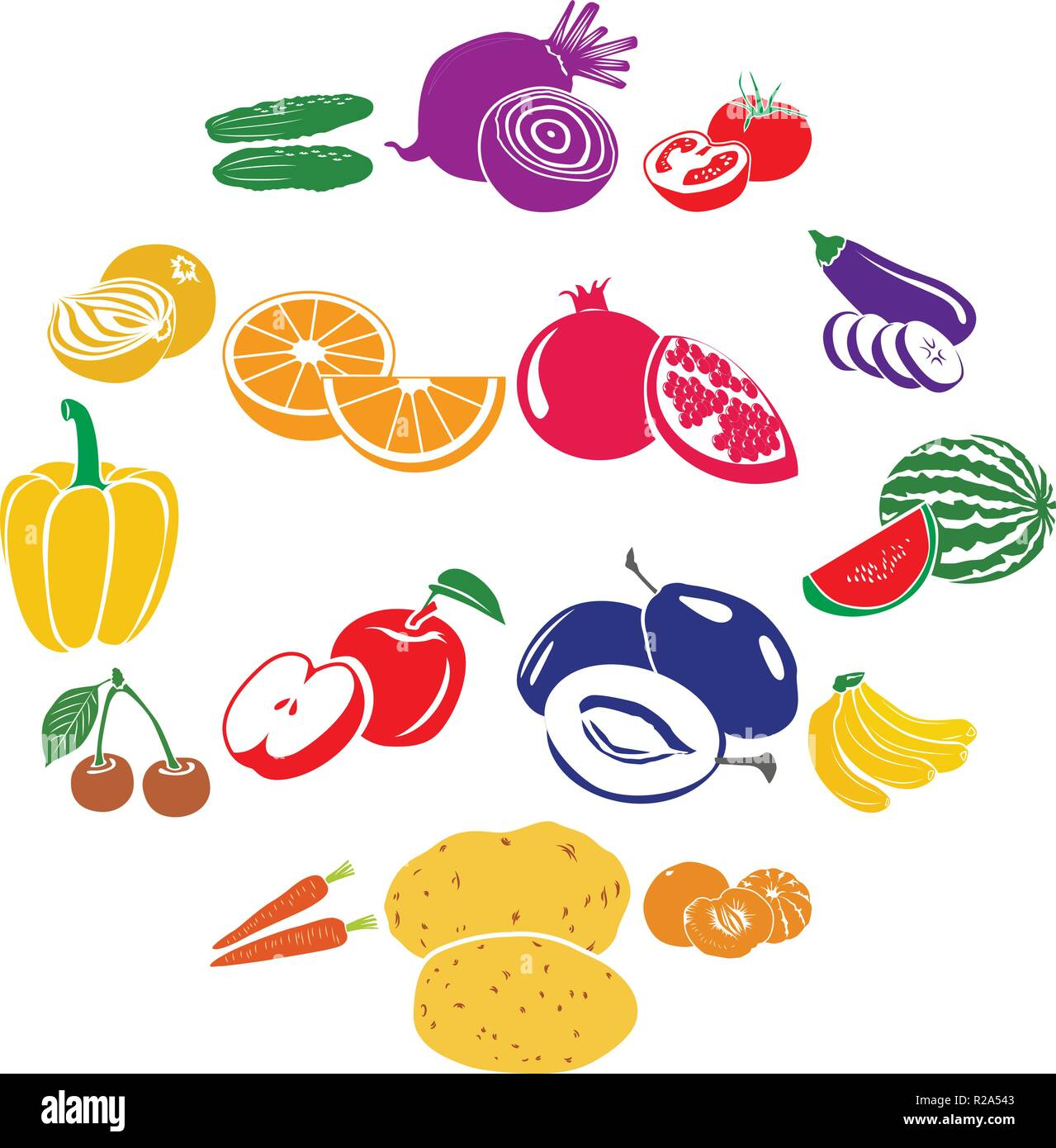 Fruits and vegetables set icons in simple style isolated on white - Stock Vector