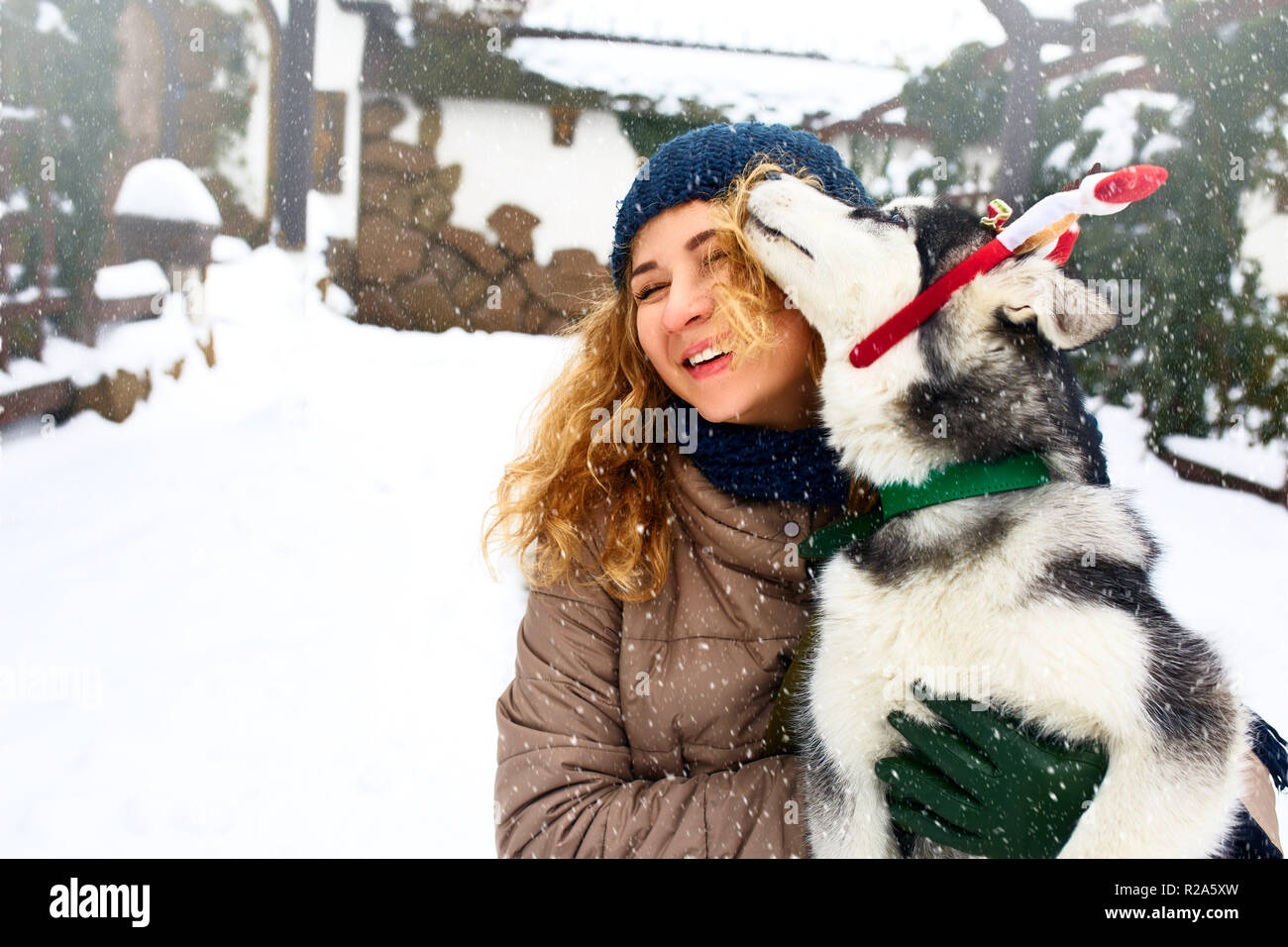 Attractive caucasian woman hugs funny malamute dog wearing santa dear christmas antlers. Curly smiling female having fun with huskie puppy on new year. Pet is best gift. Doggy licking girl's face. - Stock Image