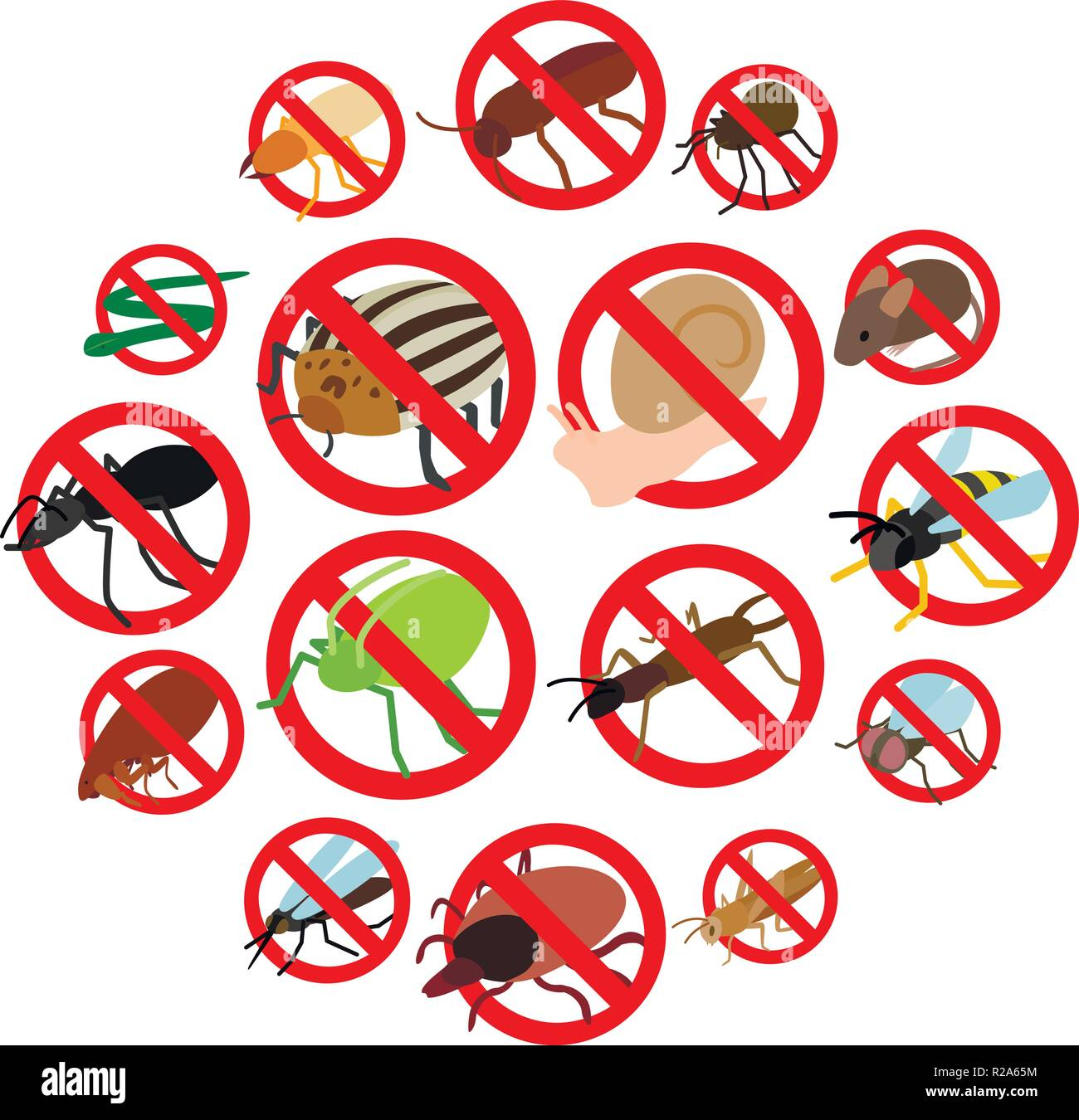 be229225 No insect sign icons set in isometric 3d style on a white background - Stock  Vector