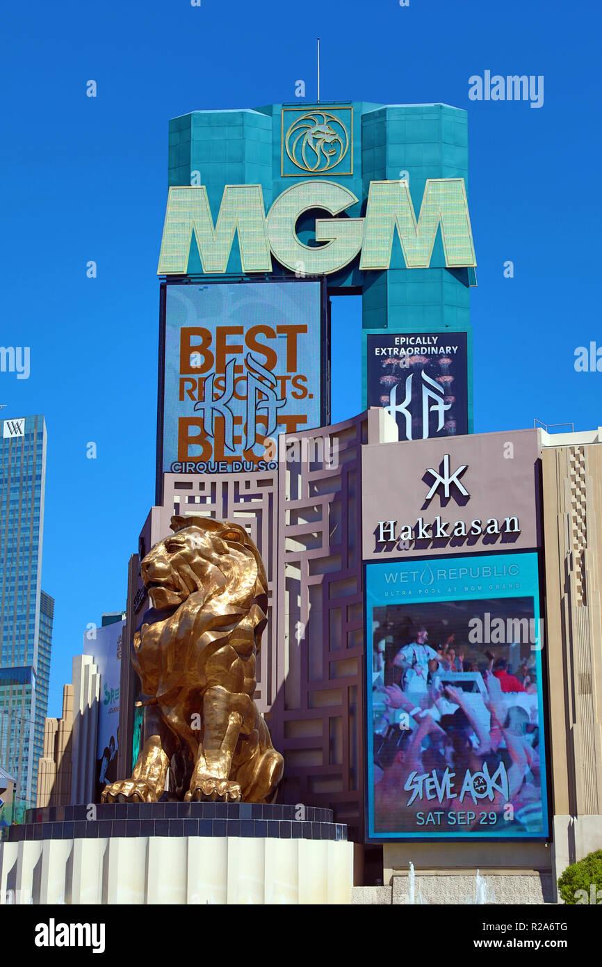 MGM Grand Hotel and Casino, Las Vegas, Nevada, America - Stock Image