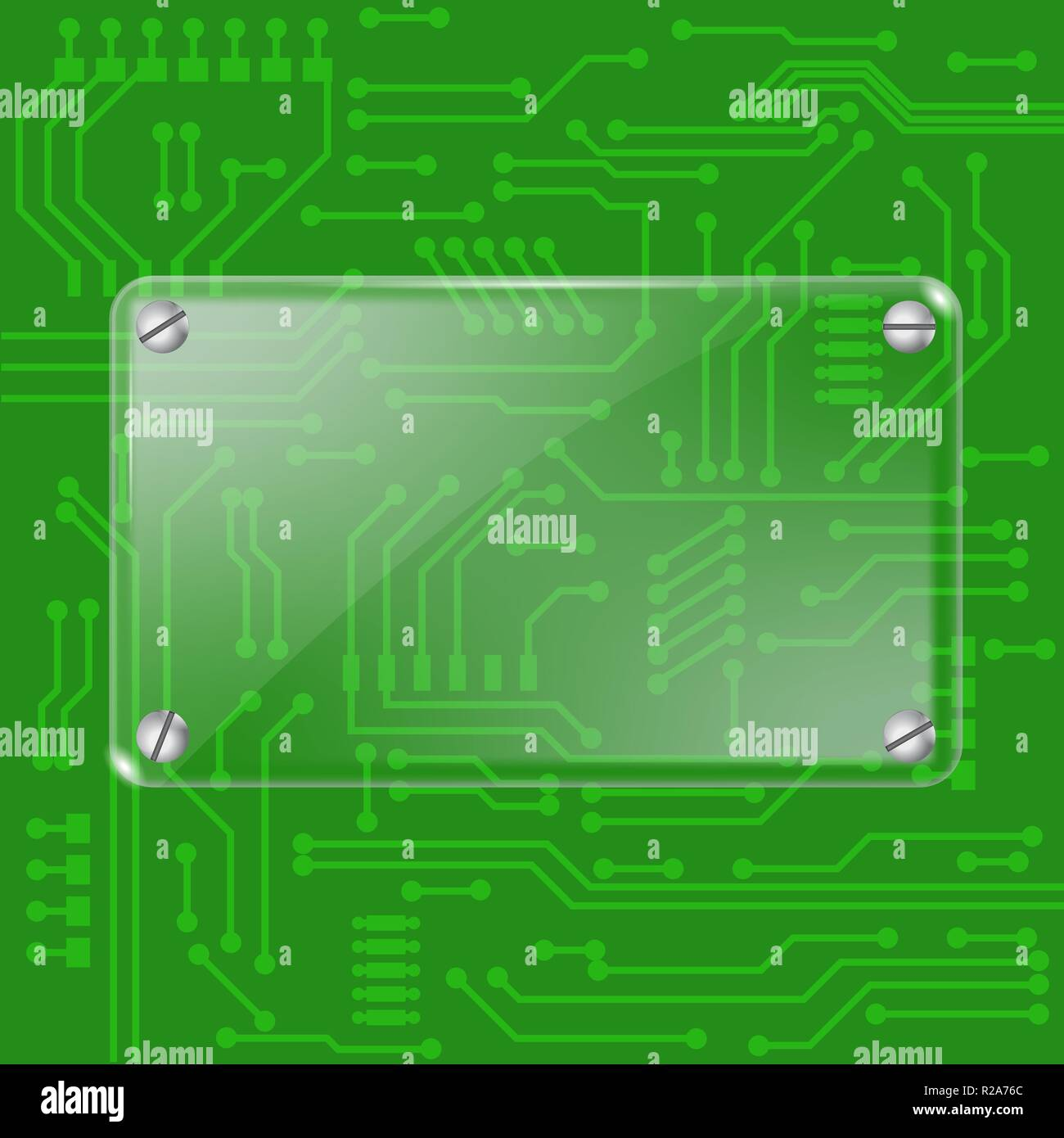 Green computer chip with transparent glass plate - Stock Image
