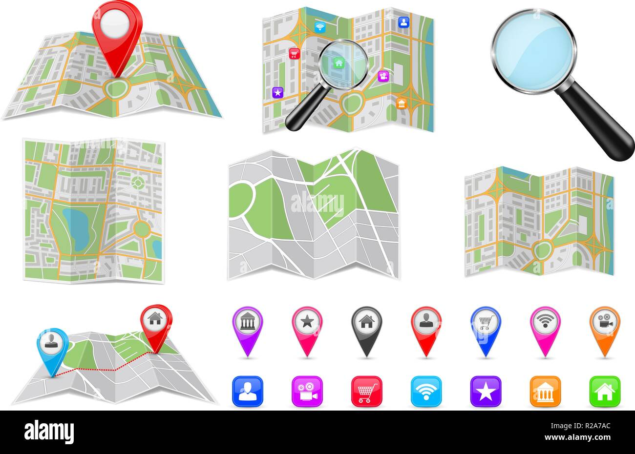 Travel tools - city maps, location markers, magnifying glass - Stock Vector