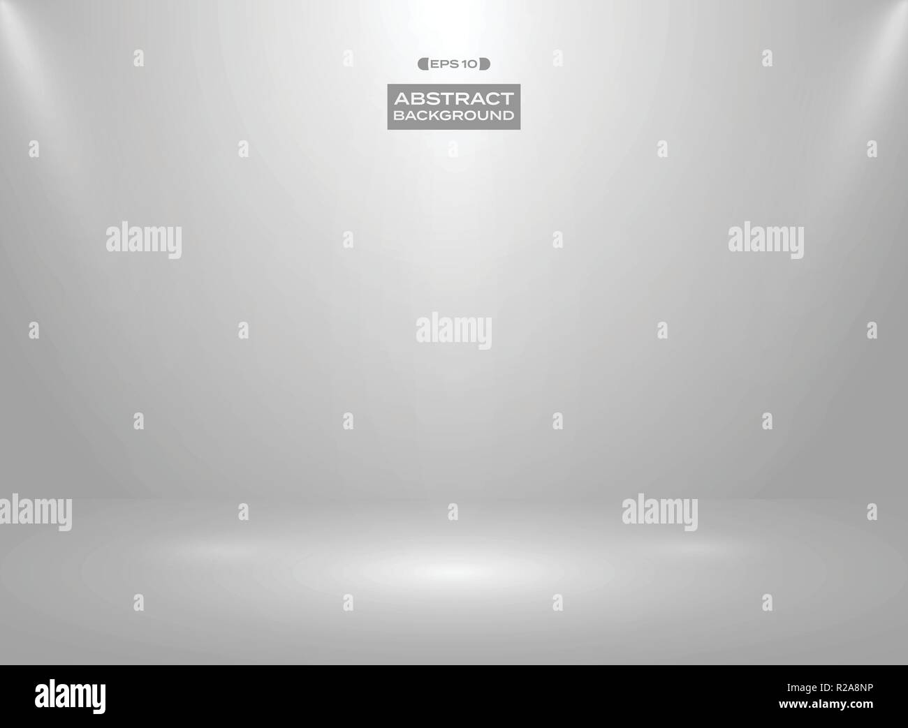Abstract of gradient white gray color in studio room background with sportlights. Illustration vector eps10 - Stock Vector