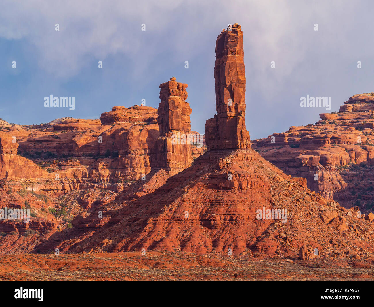 Pillar formations, Valley of the Gods near Bluff, Utah. - Stock Image