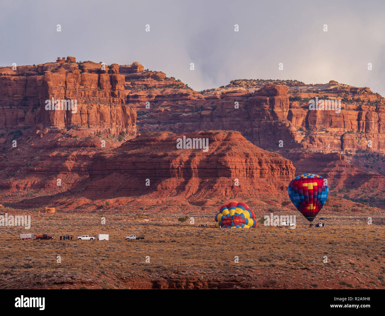 Balloons launching in the Valley of the Gods near Bluff, Utah. - Stock Image