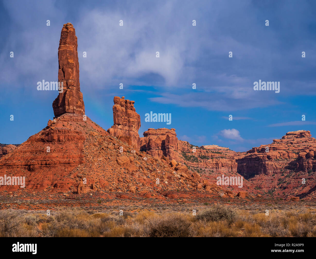 Pillar formation, Valley of the Gods near Bluff, Utah. - Stock Image