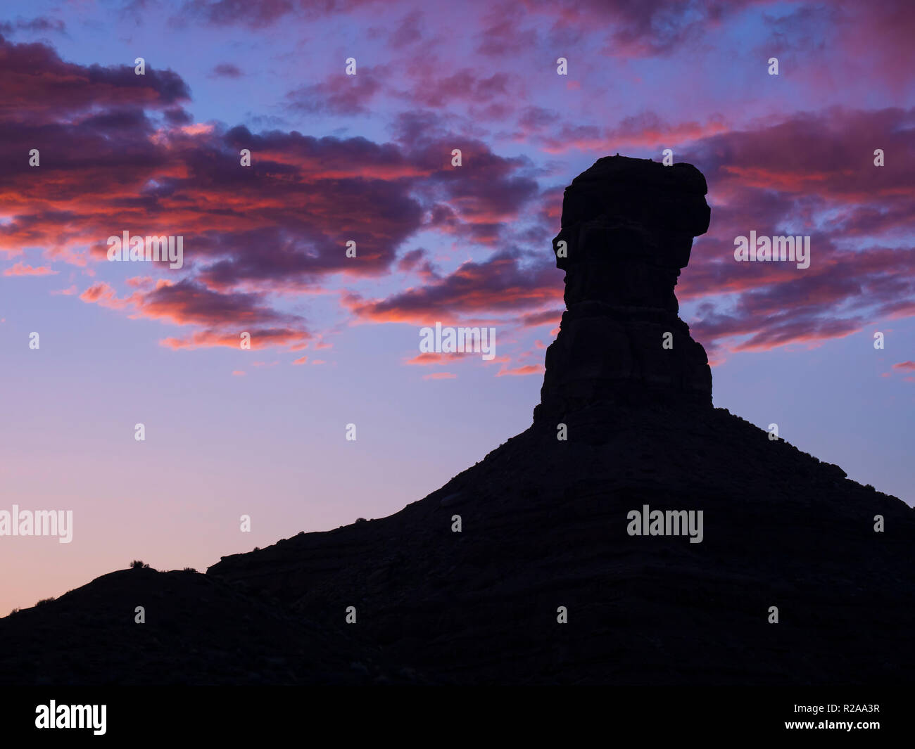 Formation at sunset, Valley of the Gods west of Bluff, Utah. Stock Photo