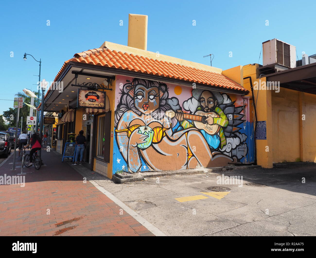 Miami, Florida 10-21-2018 Street scene on Calle Ocho - Eigth Street - in Miami's Little Havana. - Stock Image