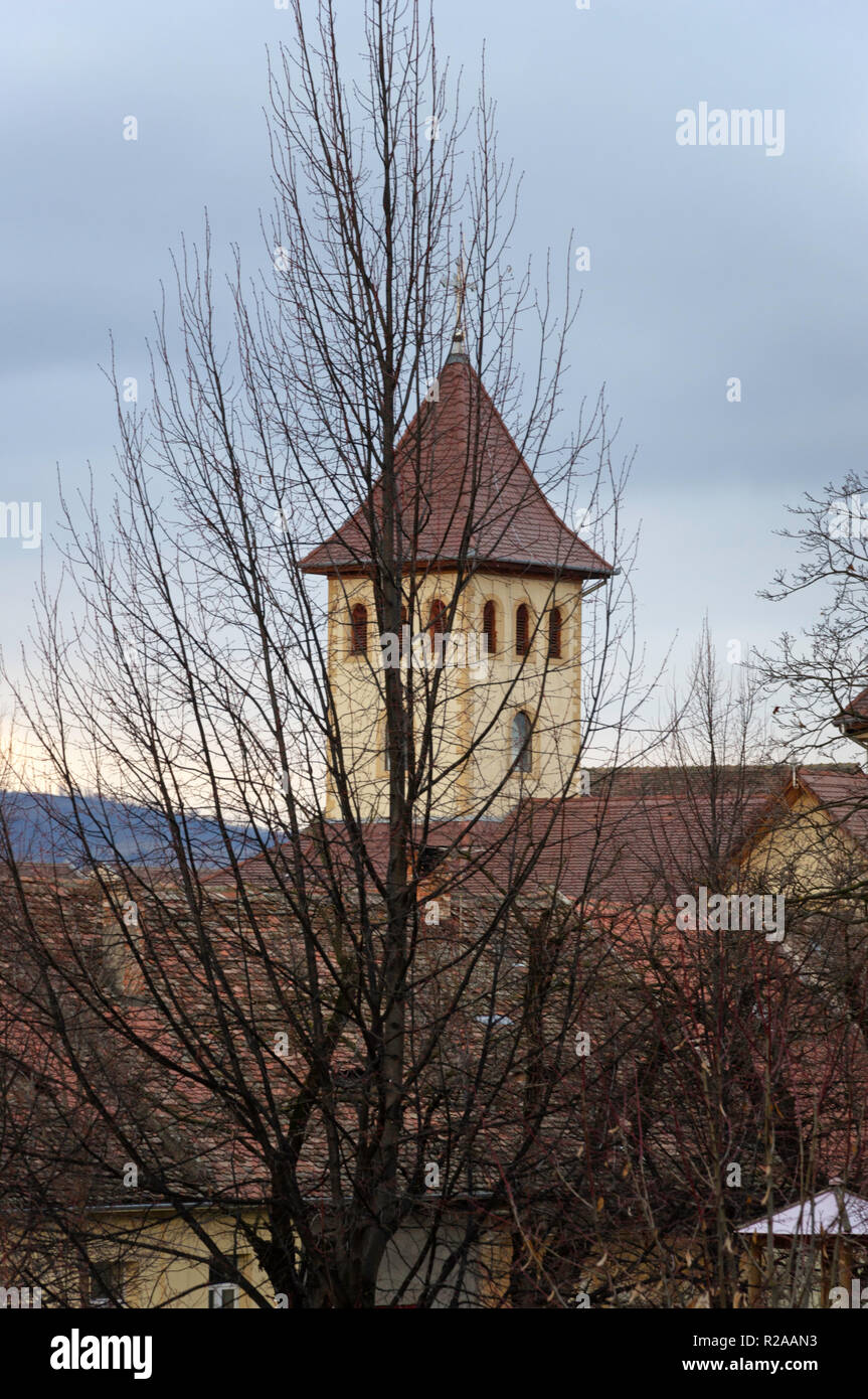 Tower in Sibiu's old town - Stock Image