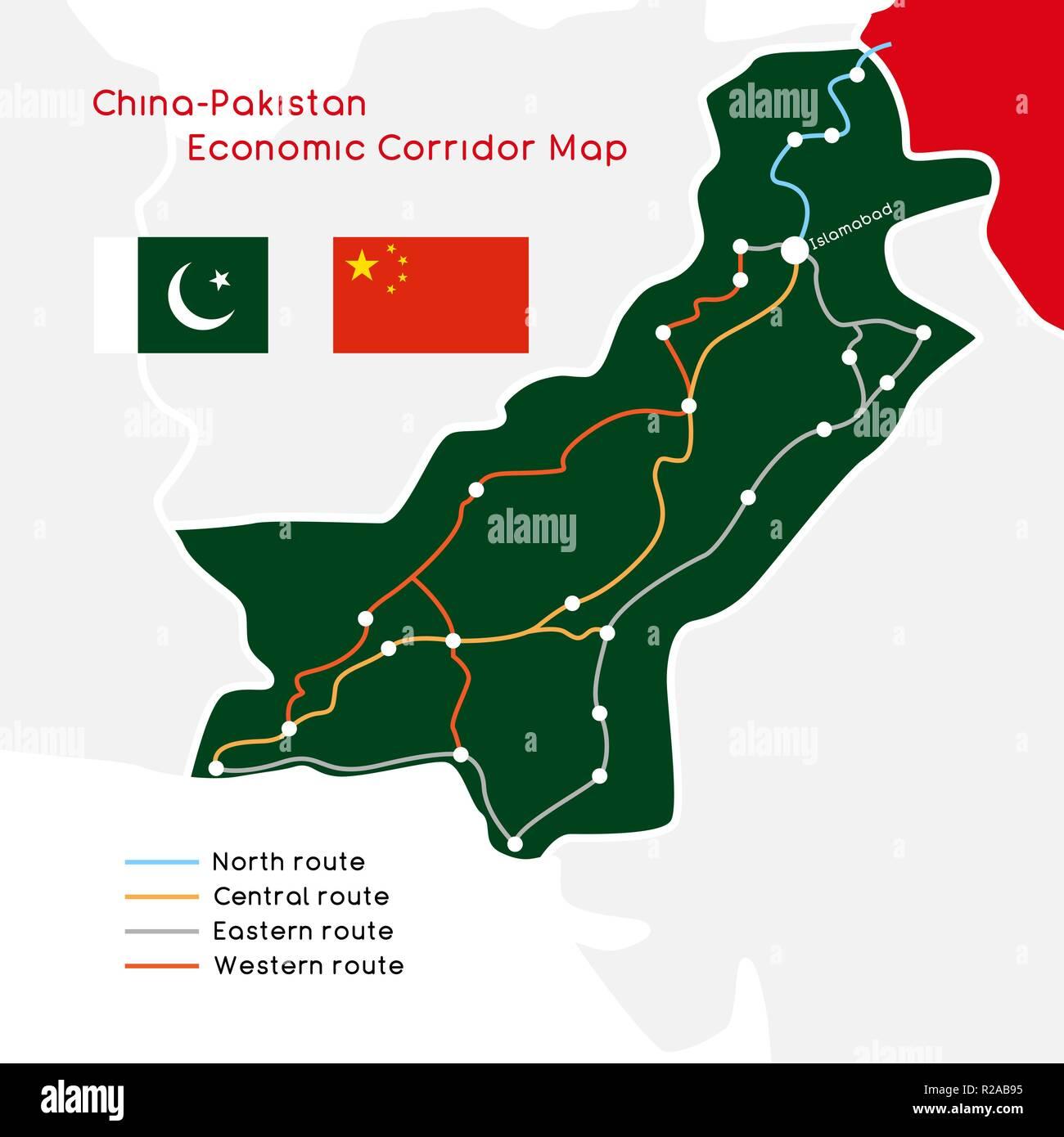 One Belt One Road new Silk Road concept. China - Pakistan Economic Corridor. Vector illustration. - Stock Image