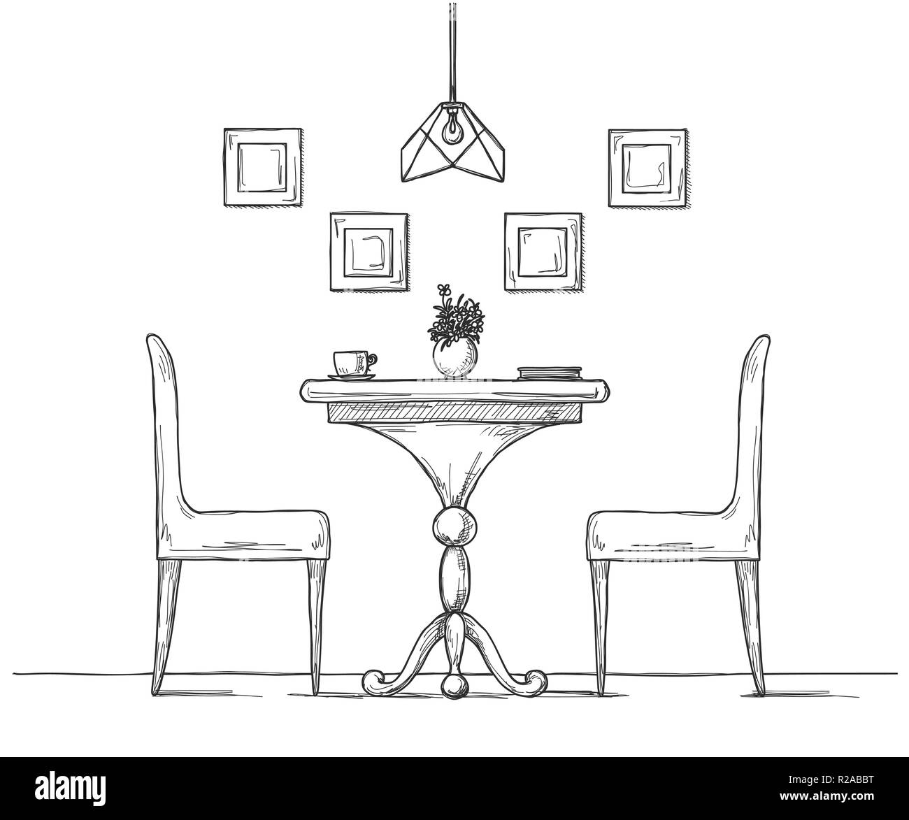 Part Of The Dining Room Round Table And Chairs On The Table Vase Of Flowers Hand Drawn Sketch Vector Illustration Stock Vector Image Art Alamy