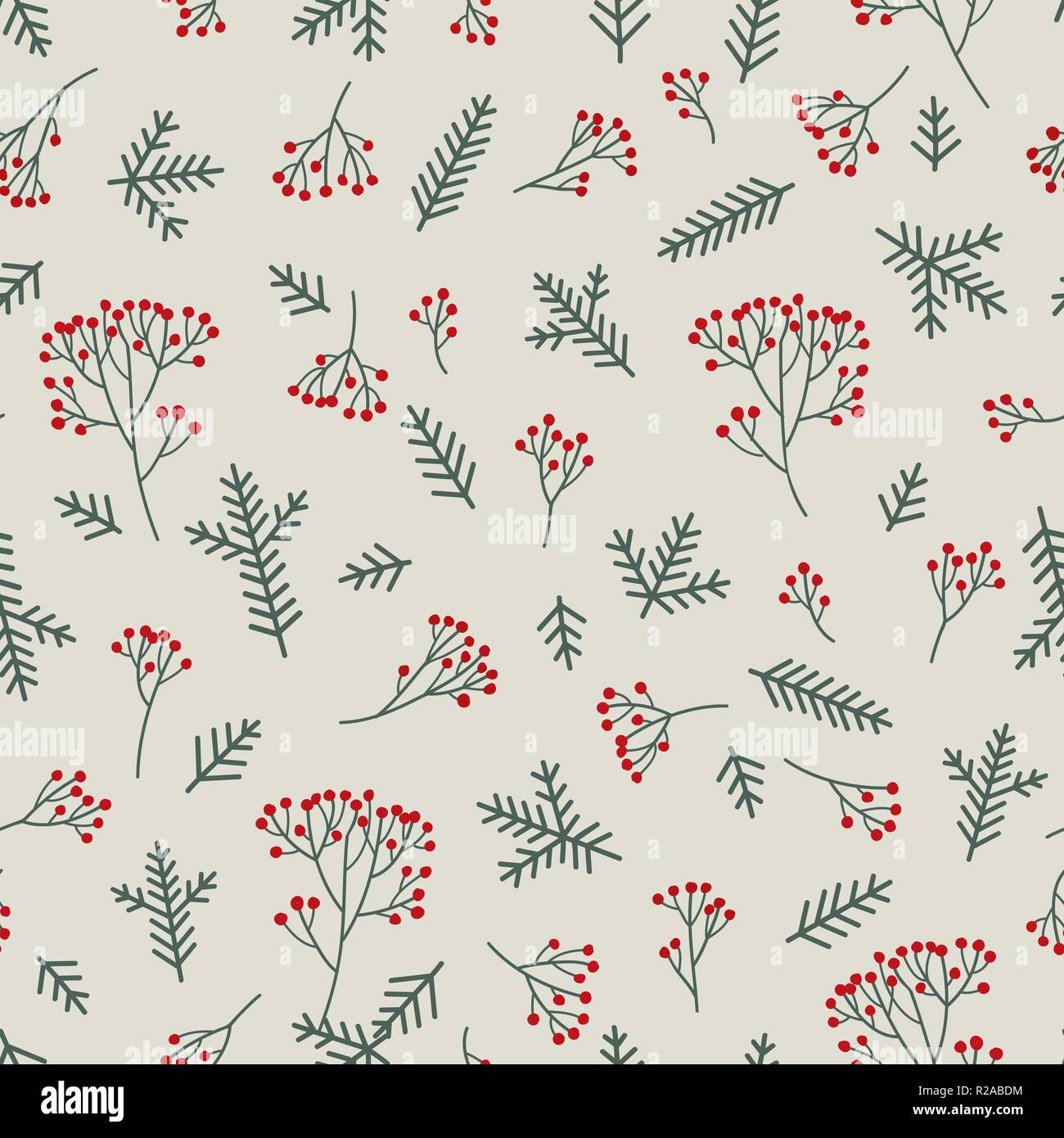 Christmas floral seamless pattern. Winter nature background. Fir tree, spruce branches, berries. - Stock Vector