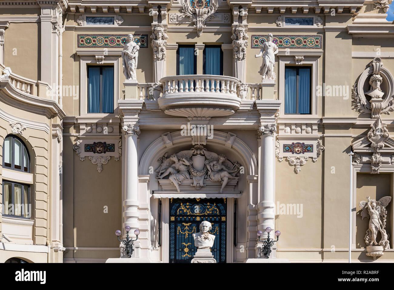 Exterior detail of the Salle Garnier, Opéra de Monte-Carlo, Monaco. - Stock Image