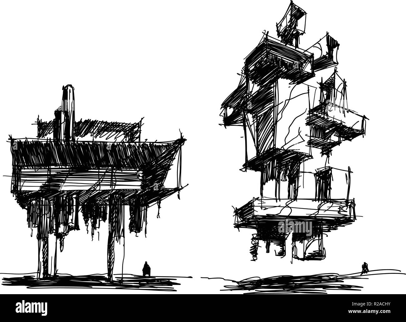 two hand drawn architectectural sketches of a modern abstract futuristic architecture with people around - Stock Image