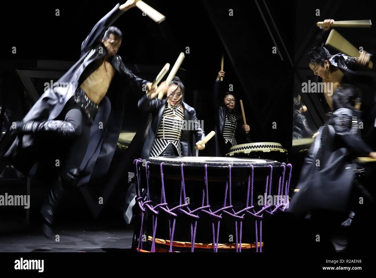 Tokyo, Japan  16th Nov, 2018  Members of Japanese drum