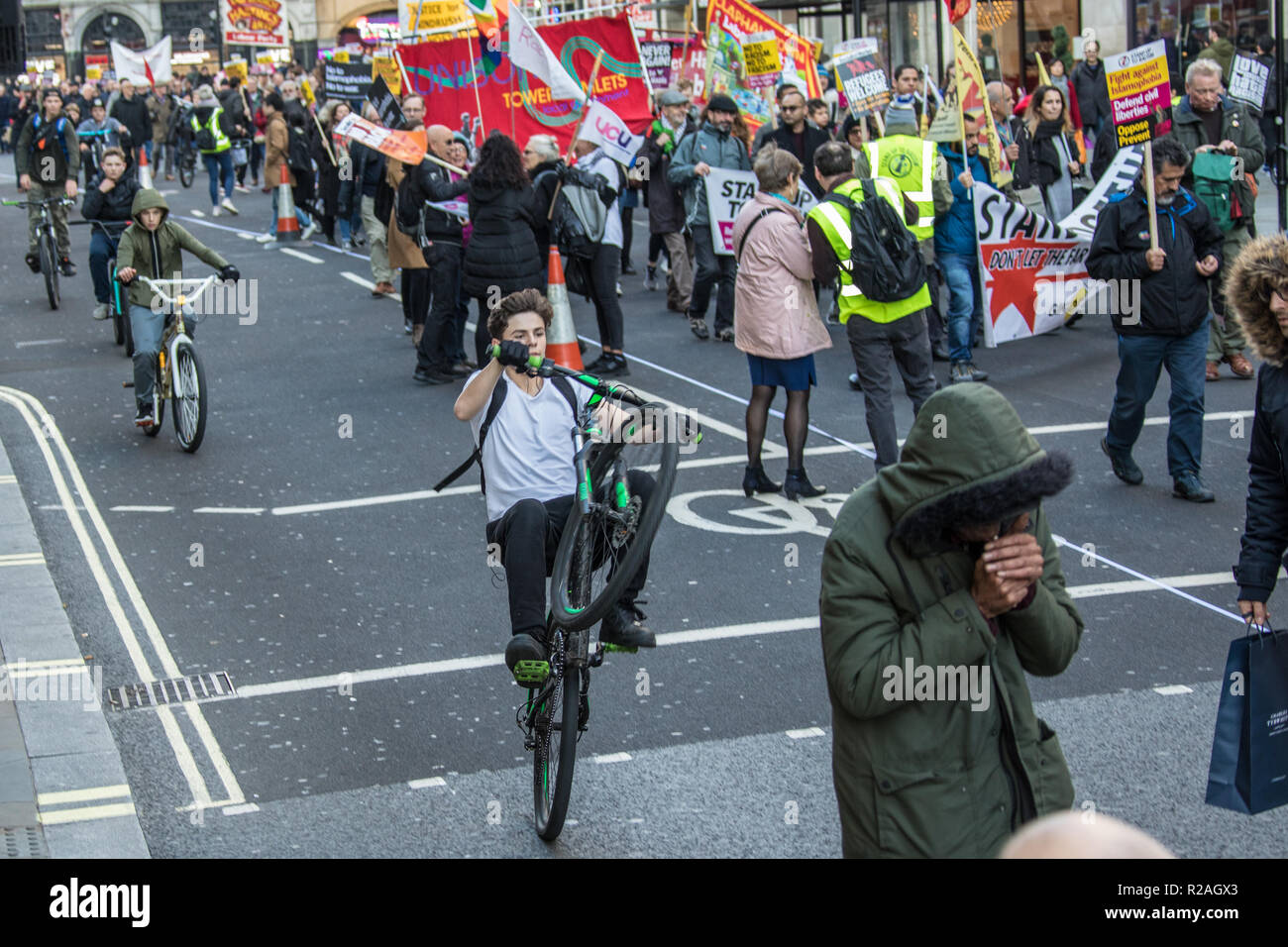London, UK. 17th Nov, 2018. Thousands marched through central London in a demonstration against racism and fascism organised by Stand up to Racism and Unite against Fascism, Credit: David Rowe/Alamy Live News - Stock Image