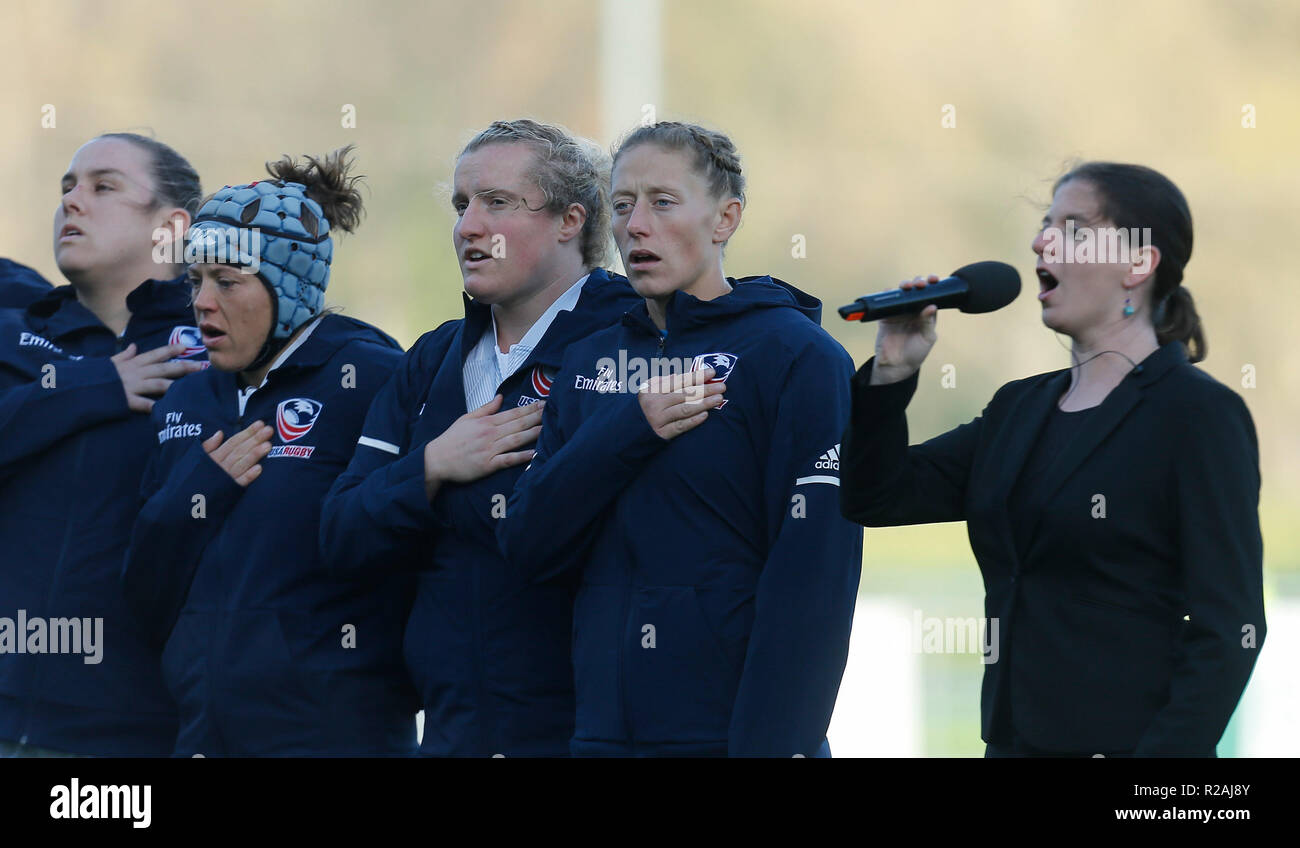 Energia Park, Dublin, Ireland. 18th Nov, 2018. Womens International rugby, Ireland versus USA; The USA team during the playing of their national anthem Credit: Action Plus Sports/Alamy Live News - Stock Image