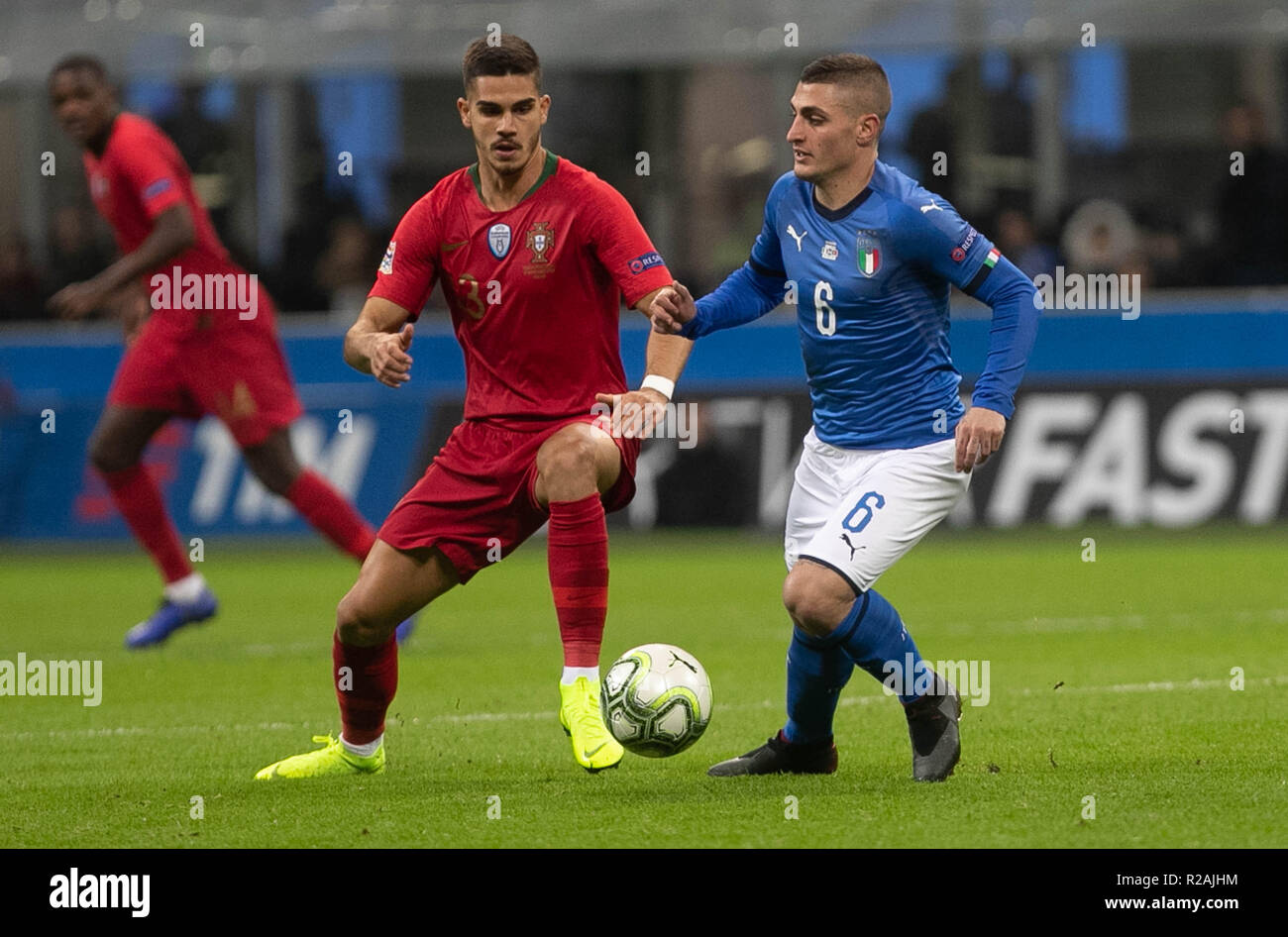 Milan, Italy. 17th Nov, 2018. Rúben Dias (Portugal) and Marco Verratti (Italy) during the UEFA Nations League 2018, League A, Group 3 football match between Italy and Portugal on November 17, 2018 at Giuseppe Meazza stadium in Milan, Italy - Photo Laurent Lairys / DPPI Credit: Laurent Lairys/Agence Locevaphotos/Alamy Live News Stock Photo