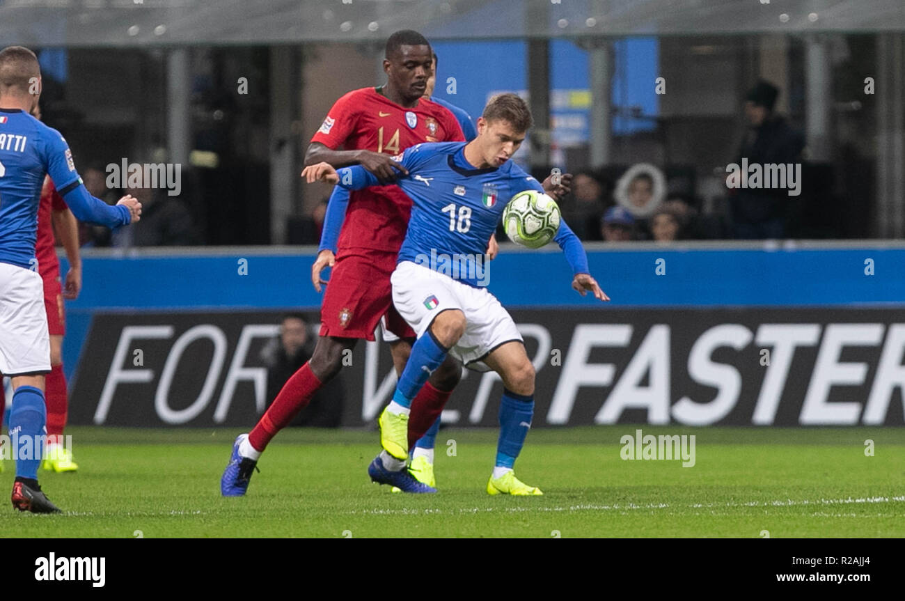 Milan, Italy. 17th Nov, 2018. William Carvalho (Portugal) and Nicolò Barella (Italy)during the UEFA Nations League 2018, League A, Group 3 football match between Italy and Portugal on November 17, 2018 at Giuseppe Meazza stadium in Milan, Italy - Photo Laurent Lairys / DPPI Credit: Laurent Lairys/Agence Locevaphotos/Alamy Live News Stock Photo