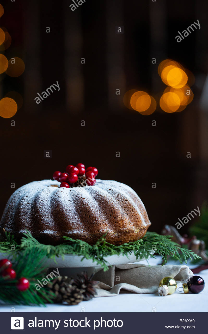 Traditional homemade christmas cake holiday dessert with cranberry in new year tree decorations. Warm color living room. Christmas lights background. - Stock Image