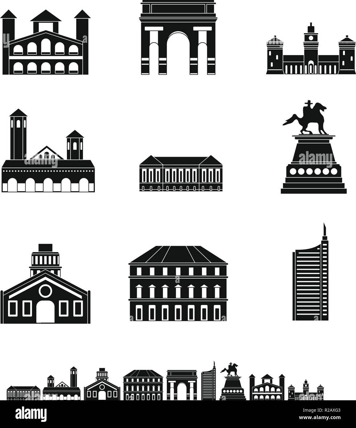 Milan Italy city skyline icons set. Simple illustration of 9 Milan Italy city skyline vector icons for web - Stock Vector