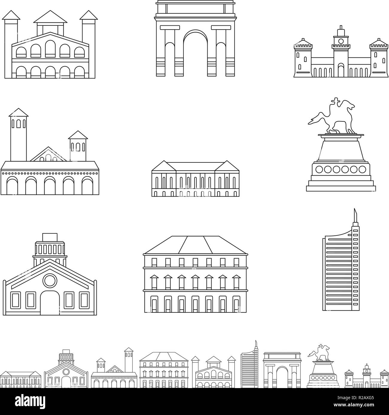 Milan Italy city skyline icons set. Outline illustration of 9 Milan Italy city skyline vector icons for web - Stock Vector