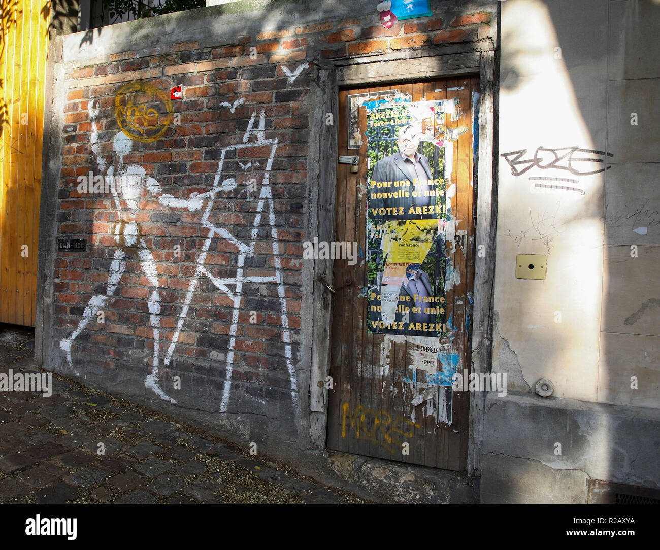 FRANCE Paris Montmartre graffitti at wall 2007 - Stock Image