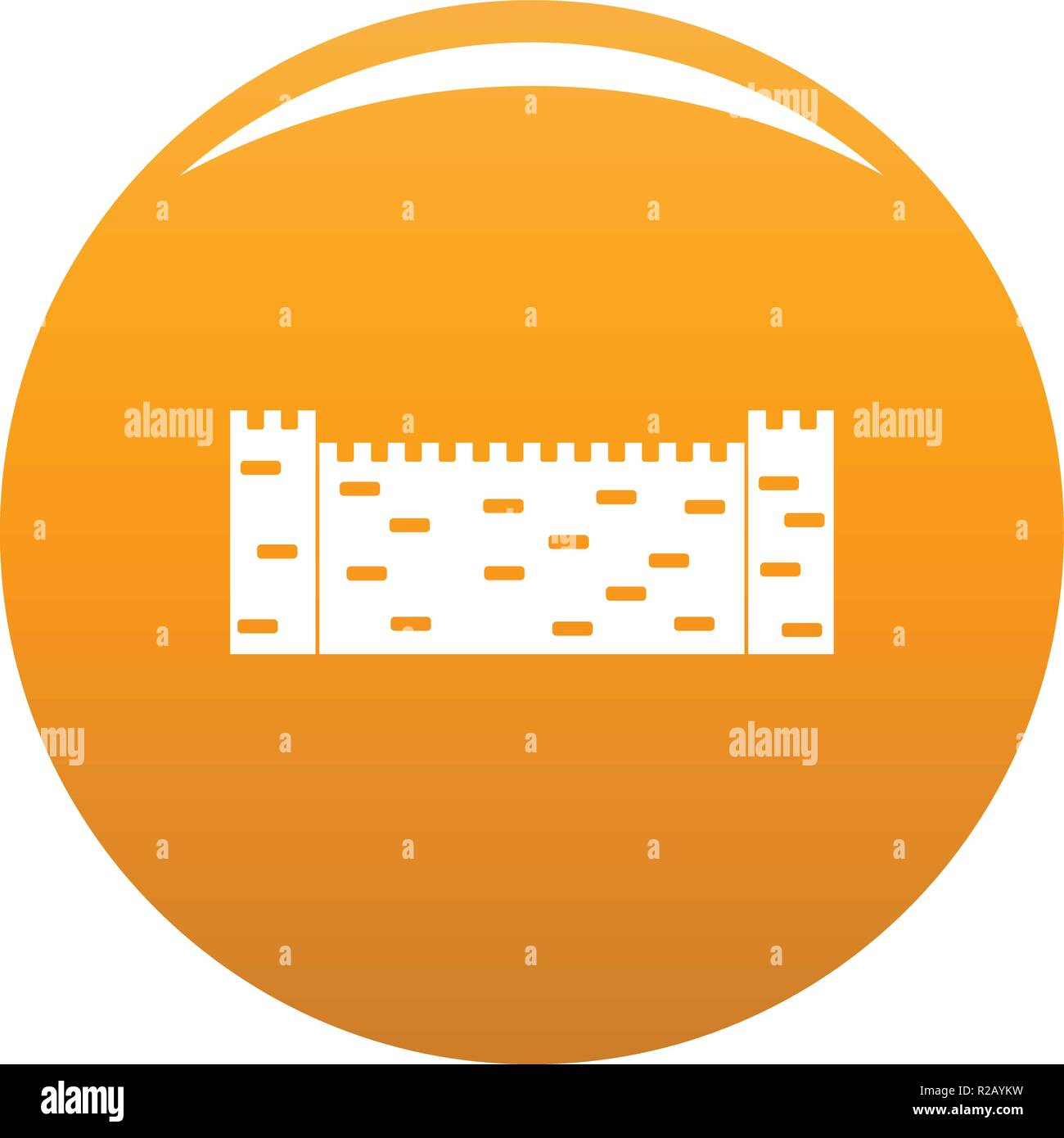 Stone fence icon. Simple illustration of stone fence vector icon for any design orange - Stock Image