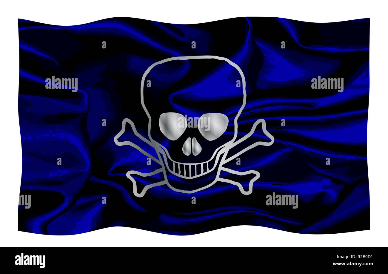 The pirate flag known as the Jolly Roger waving in a breeze - Stock Image