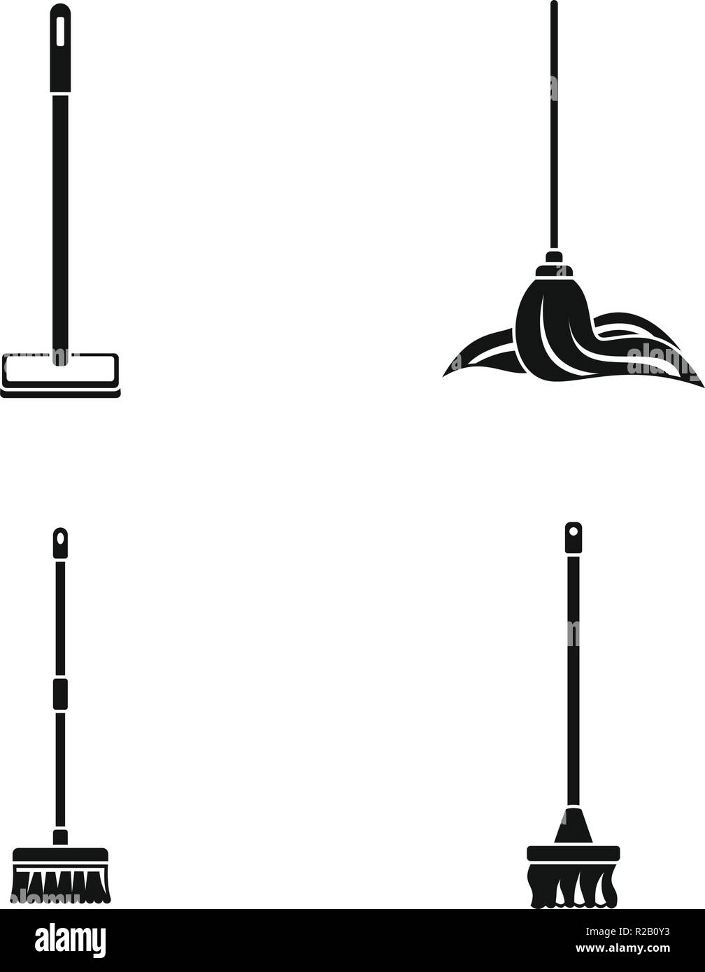 Mop cleaning swab icons set. Simple illustration of 4 mop cleaning swab vector icons for web - Stock Vector