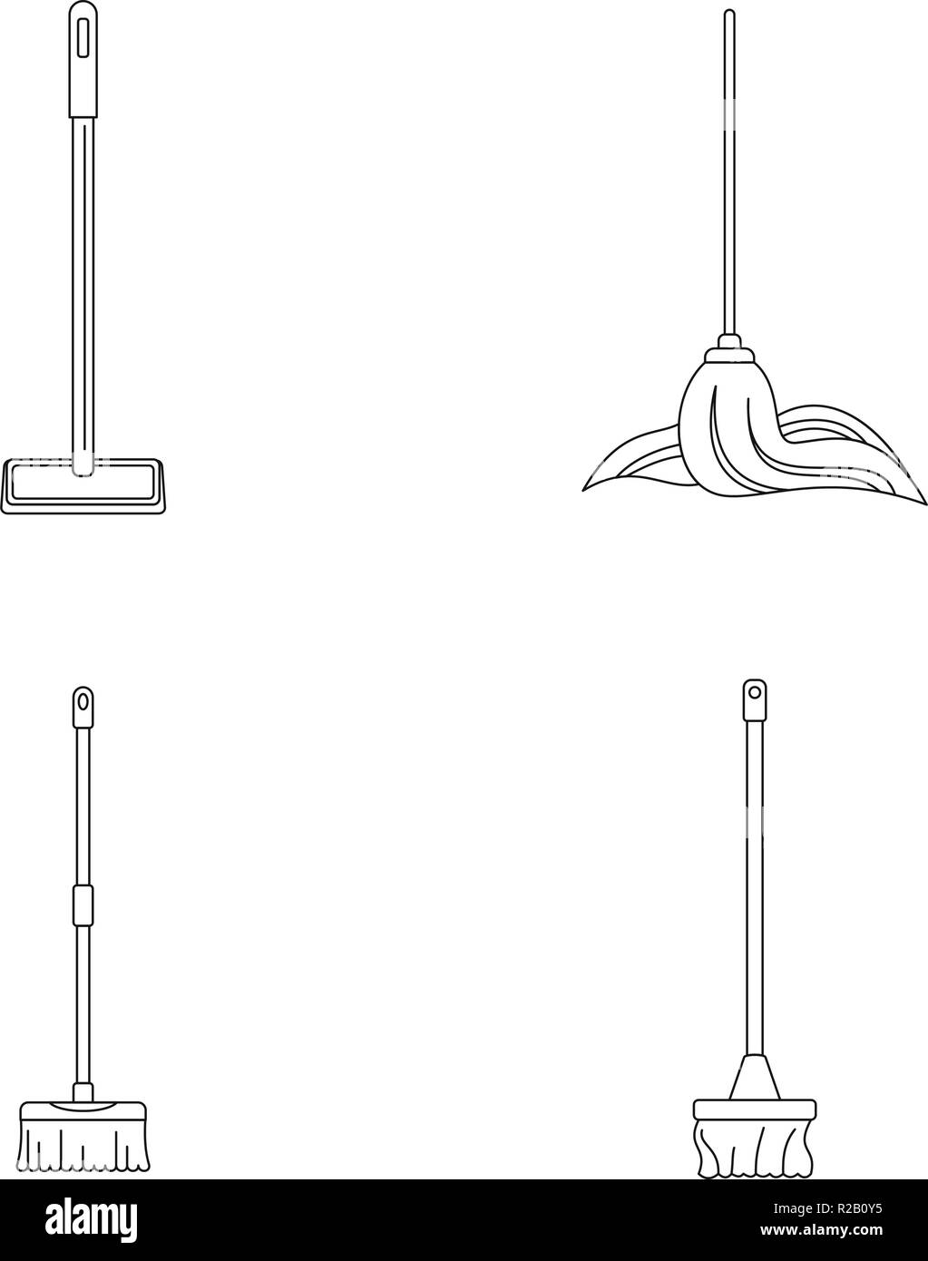 Mop cleaning swab icons set. Outline illustration of 4 mop cleaning swab vector icons for web - Stock Vector