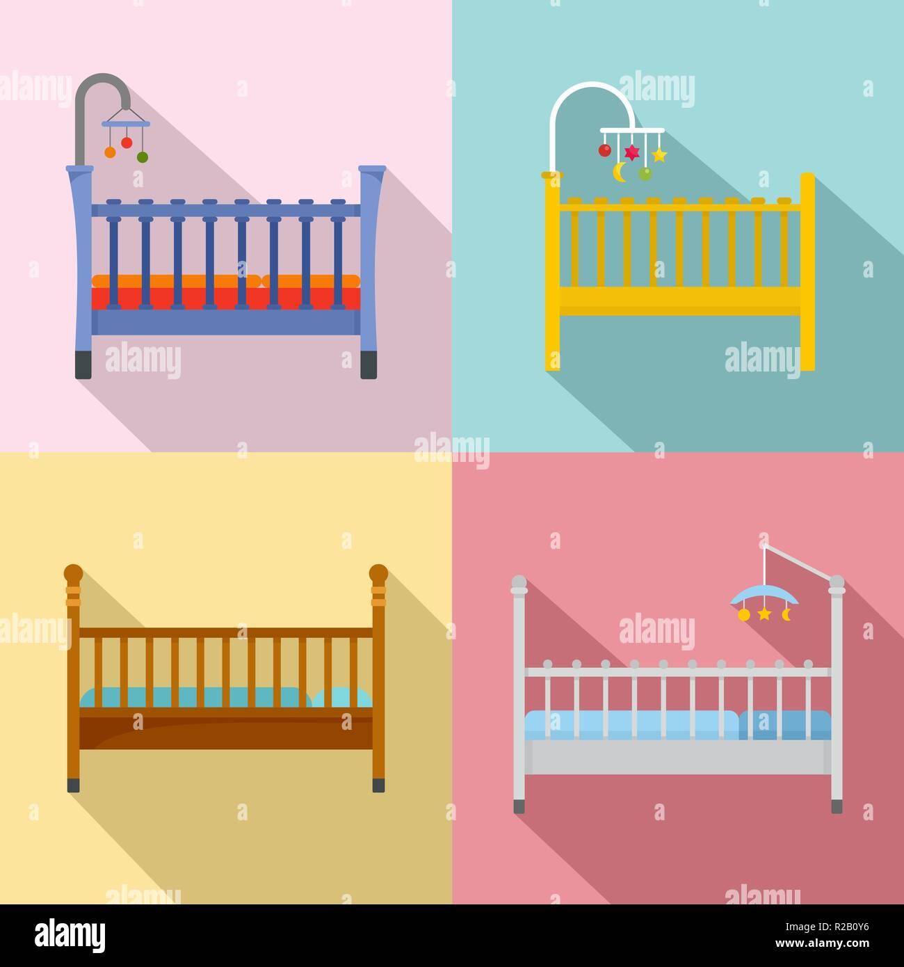 Baby Crib Cradle Bed Icons Set Flat Illustration Of 4 Baby Crib