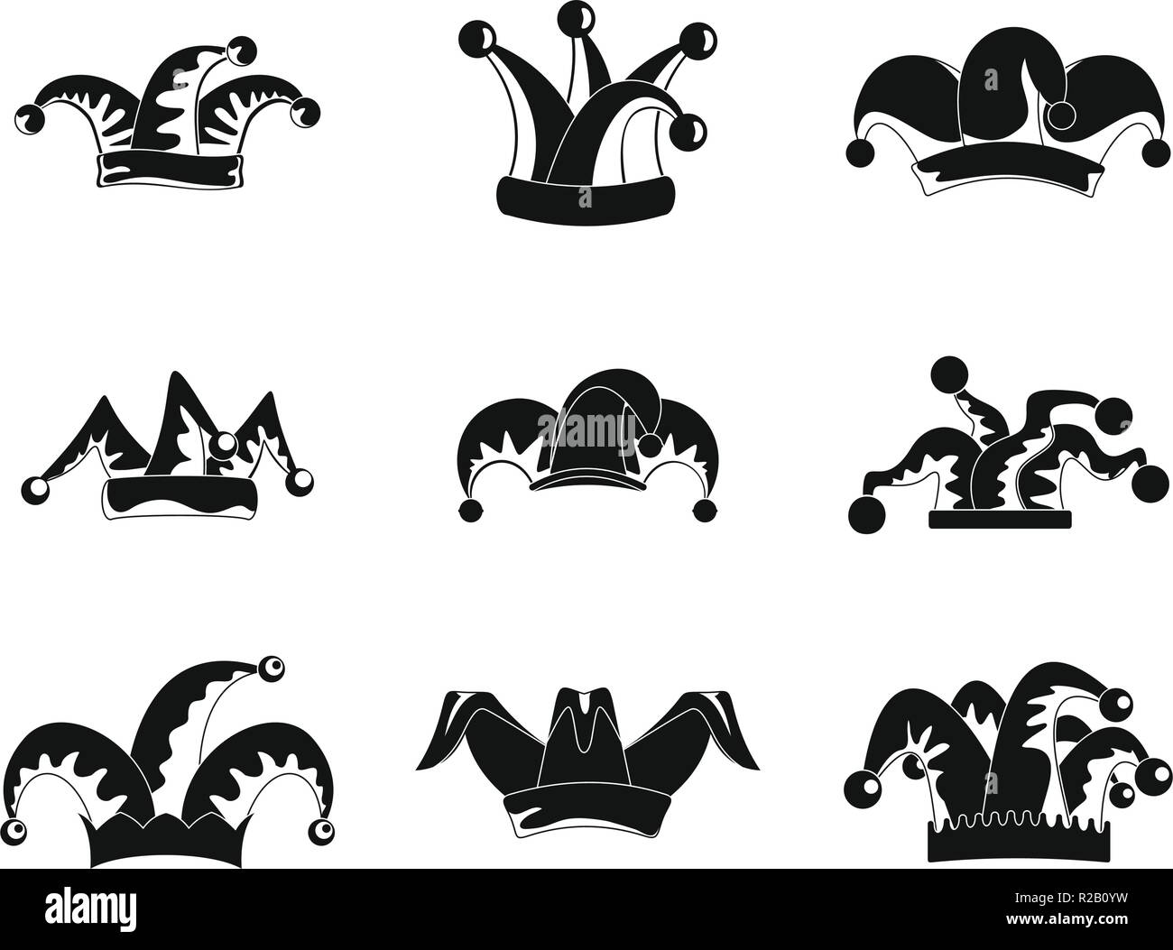 1947521de68 Jester fools hat icons set. Simple illustration of 9 Jester fools hat vector  icons for
