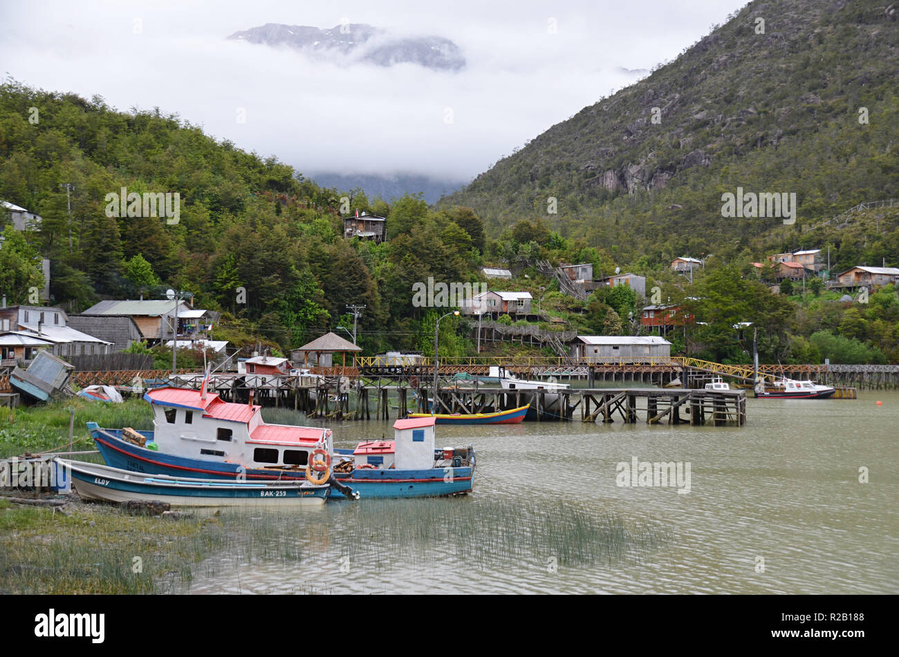 View of Tortel, Aysen, Chile - Stock Image