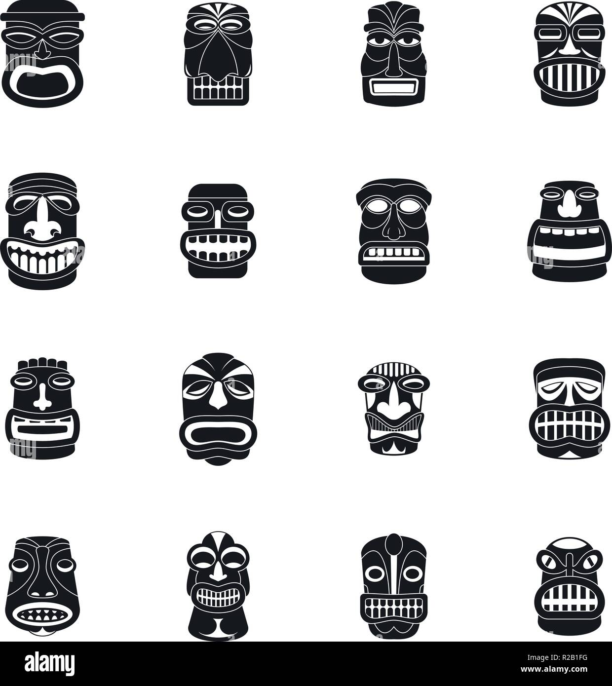 Tiki idol aztec hawaii face icons set. Simple illustration of 16 tiki idol aztec hawaii face vector icons for web - Stock Vector