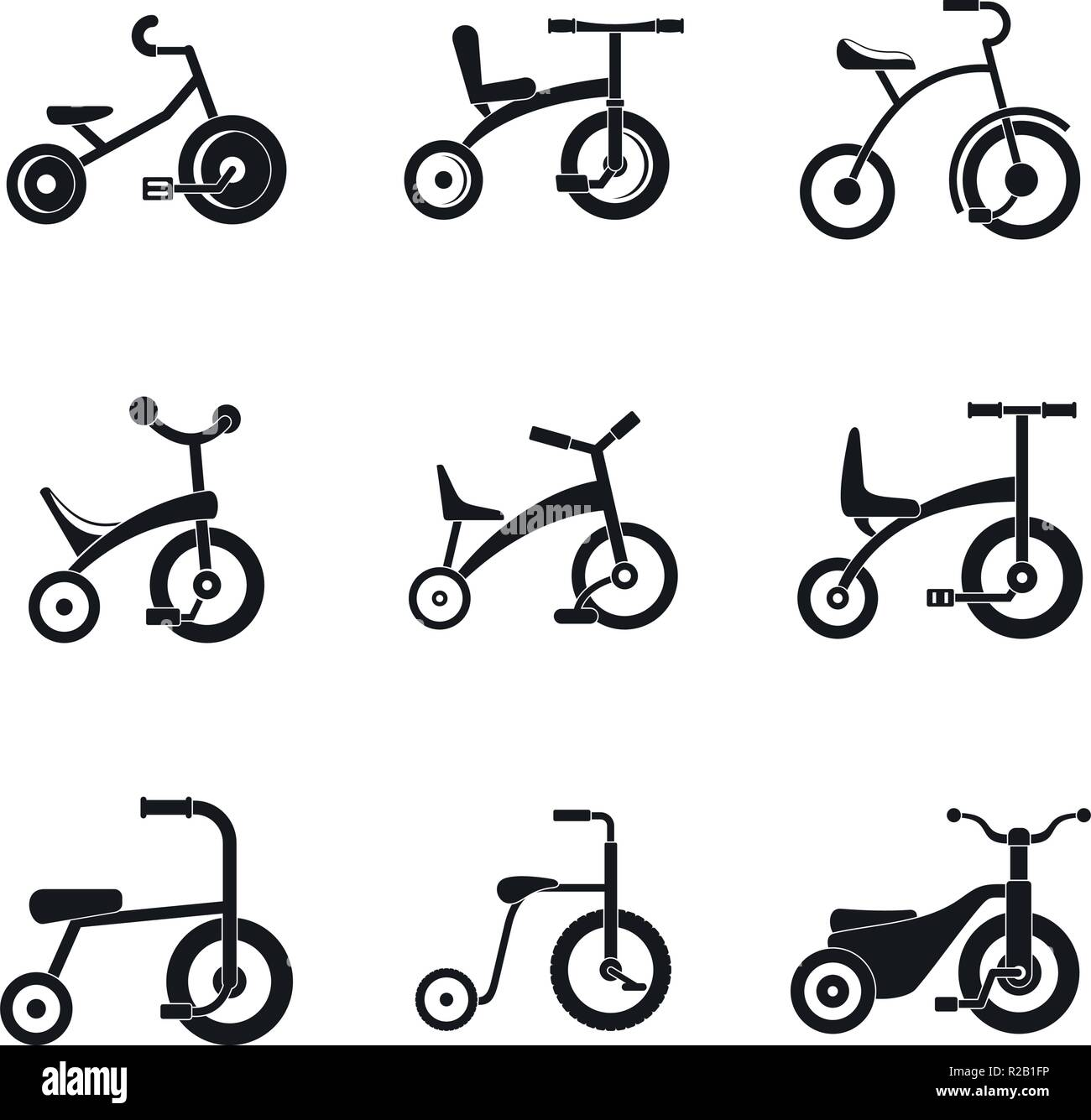 Tricycle Bicycle Bike Wheel Icons Set Simple Illustration Of 9 Tricycle Bicycle Bike Wheel Vector Icons For Web Stock Vector Image Art Alamy