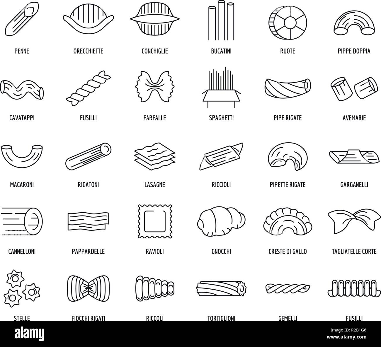 Macaroni pasta spaghetti noodles icons set. Outline illustration of 30 macaroni pasta spaghetti noodles vector icons for web - Stock Vector