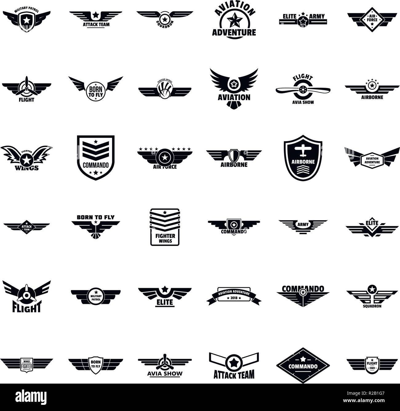 Airforce military army badge logo icons set. Simple illustration of 36 airforce military army badge logo vector icons for web - Stock Image