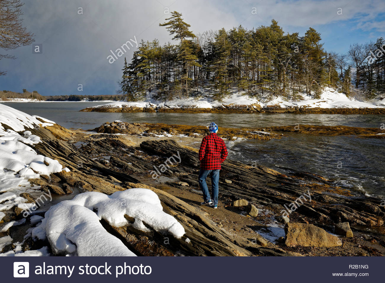 Winter at Wolfe's Neck Woods State Park, Freeport, Maine, USA - Stock Image