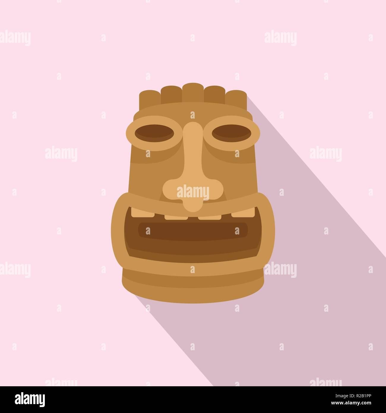 Tiki wood idol icon. Flat illustration of tiki wood idol vector icon for web design - Stock Vector