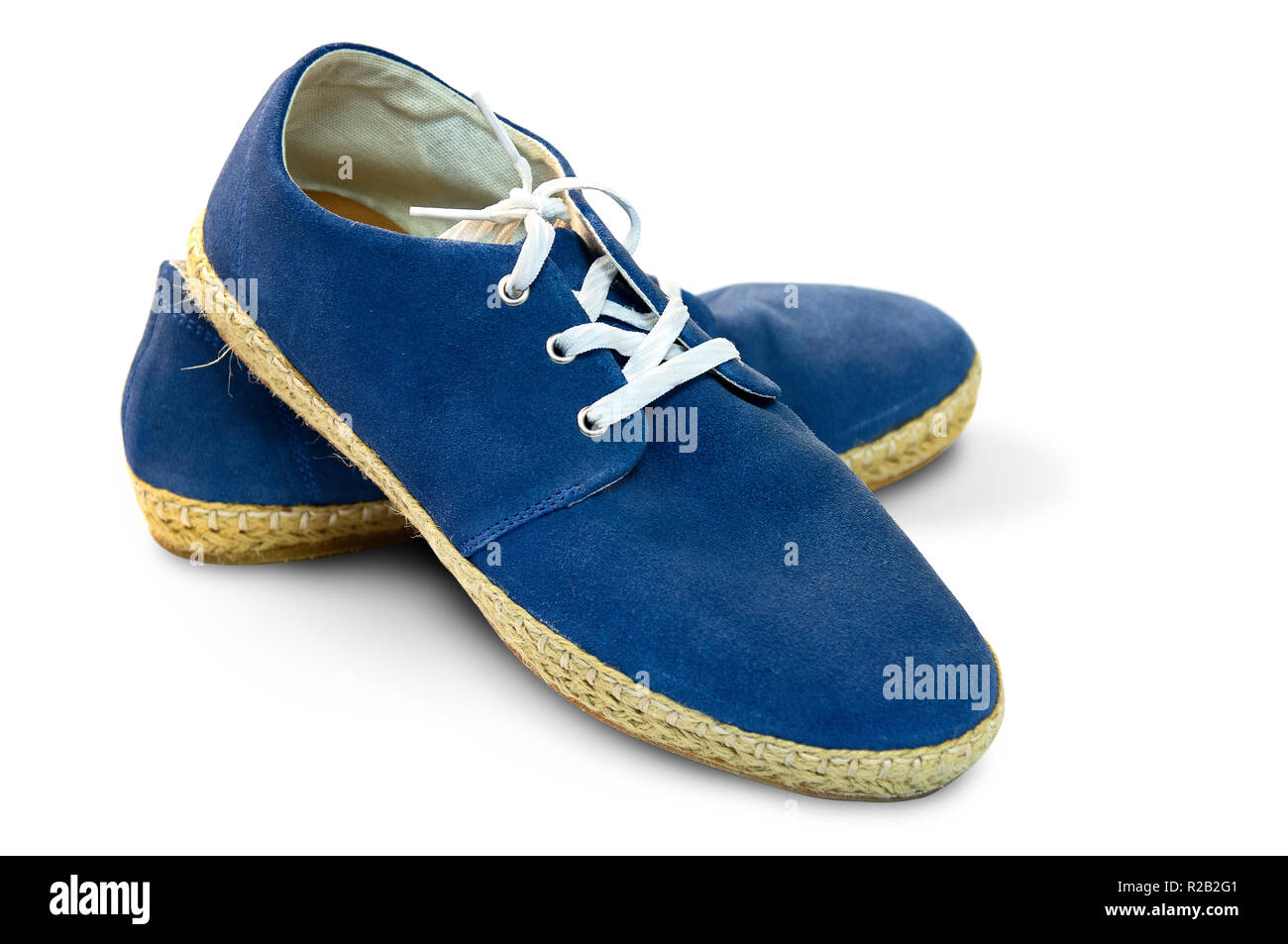 Blue casual shoes isolated on white background, with clipping path. - Stock Image